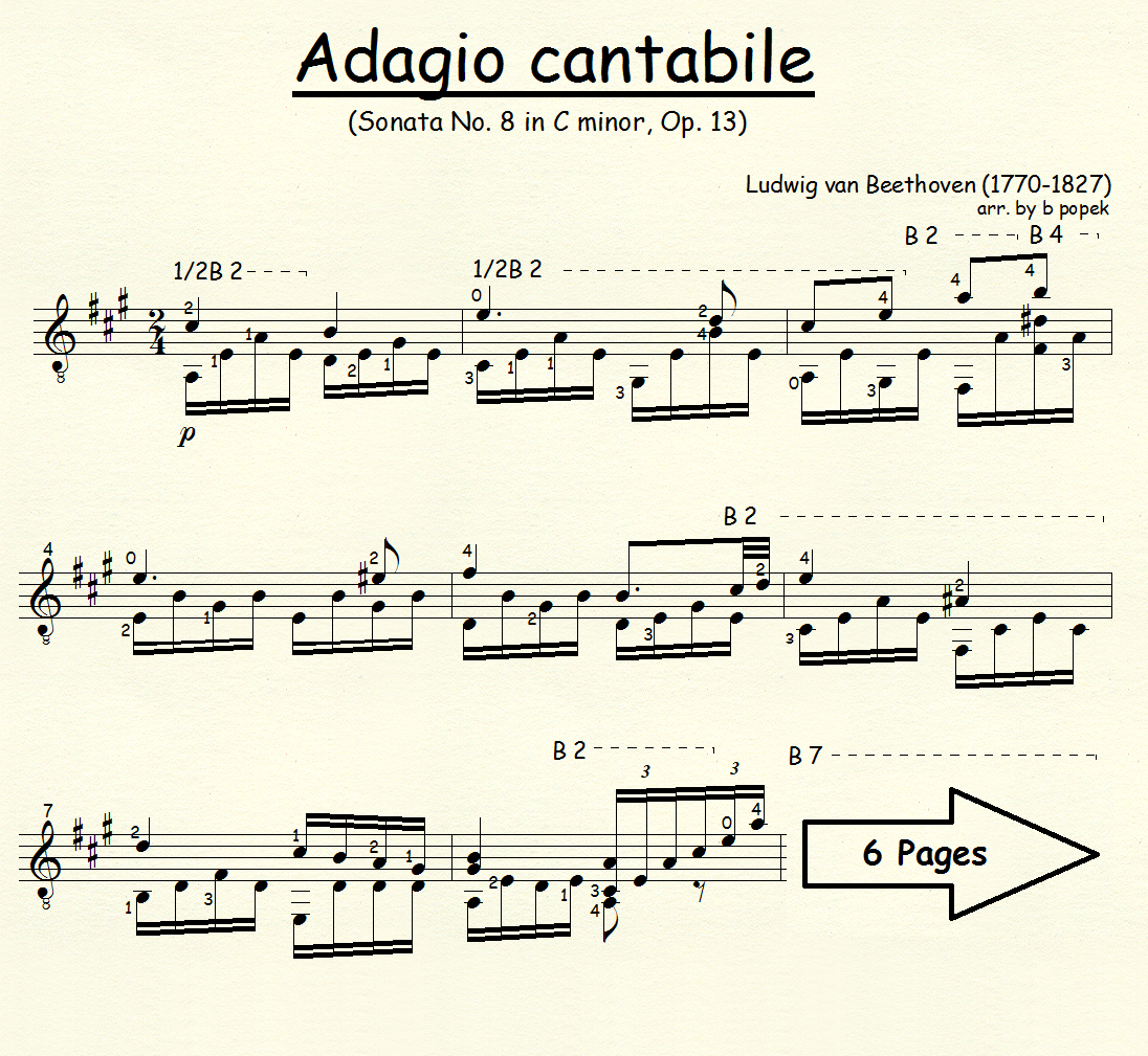 Adagio Cantabile (Beethoven) for Classical Guitar in Standard Notation