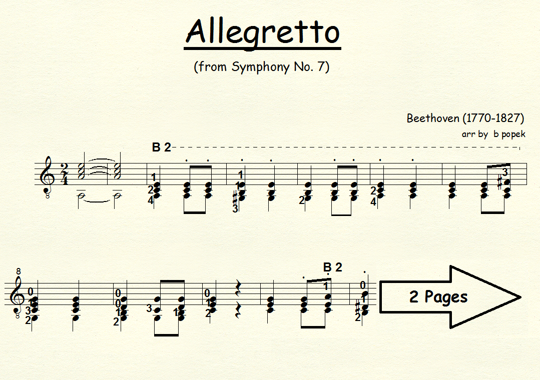 Allegretto (Beethoven) for Classical Guitar in Standard Notation