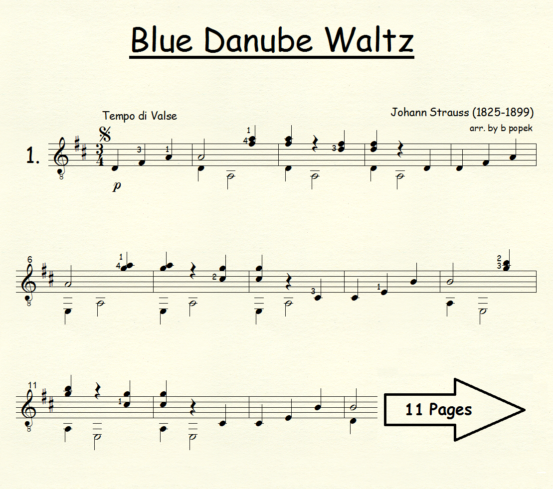 Blue Danube Waltz (Strauss) for Classical Guitar in Standard Notation