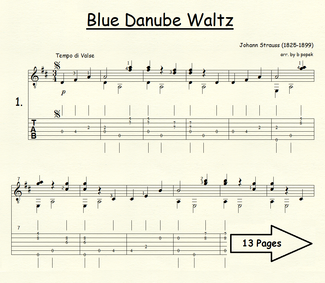 Blue Danube Waltz (Strauss) for Classical Guitar in Tablature