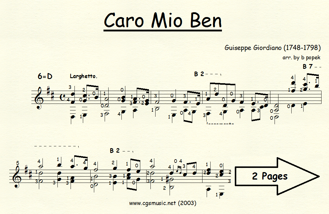 Cario Mio Ben (Giordiano) for Classical Guitar in Standard Notation