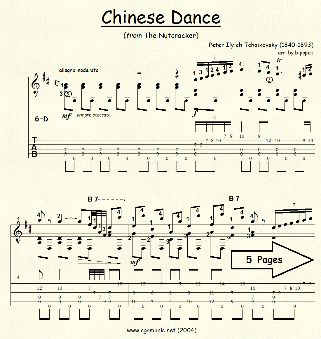 Chinese Dance (Tchaikovsky) from The Nutcracker Suite for Classical Guitar in Tablature