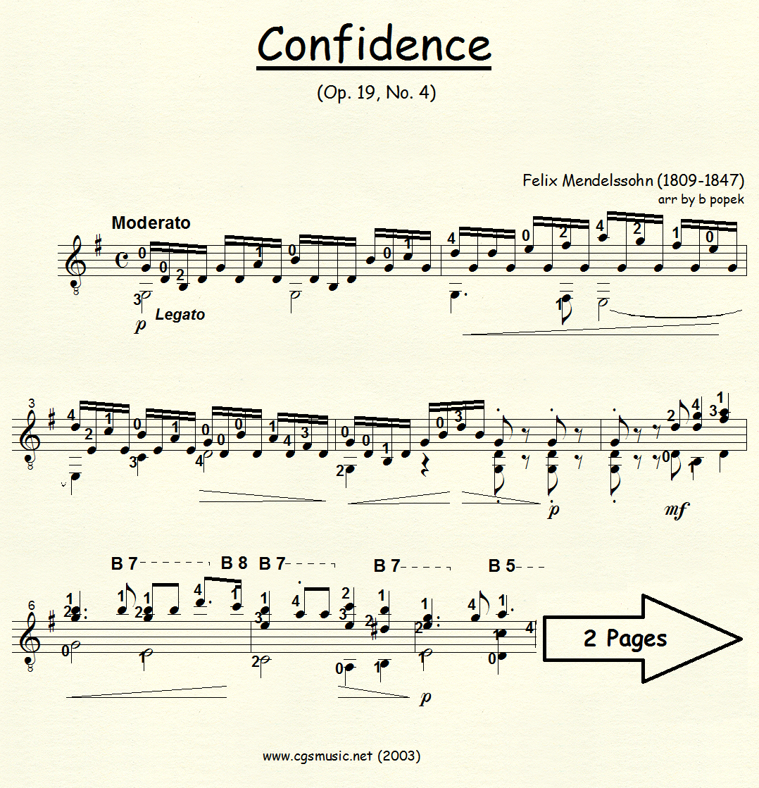 Confidence (Mendelssohn) for Classical Guitar in Standard Notation
