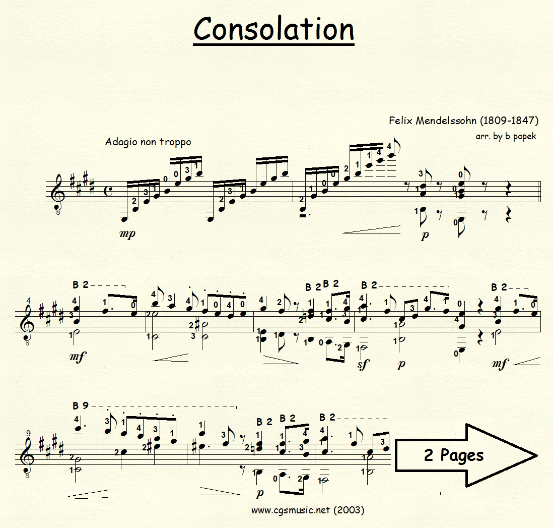Consolation (Mendelssohn) for Classical Guitar in Standard Notation