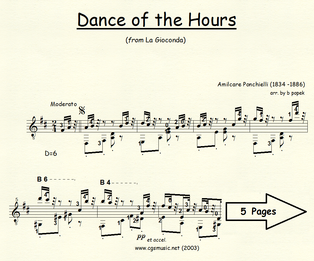 Dance of the Hours (Ponchielli) for Classical Guitar in Standard Notation