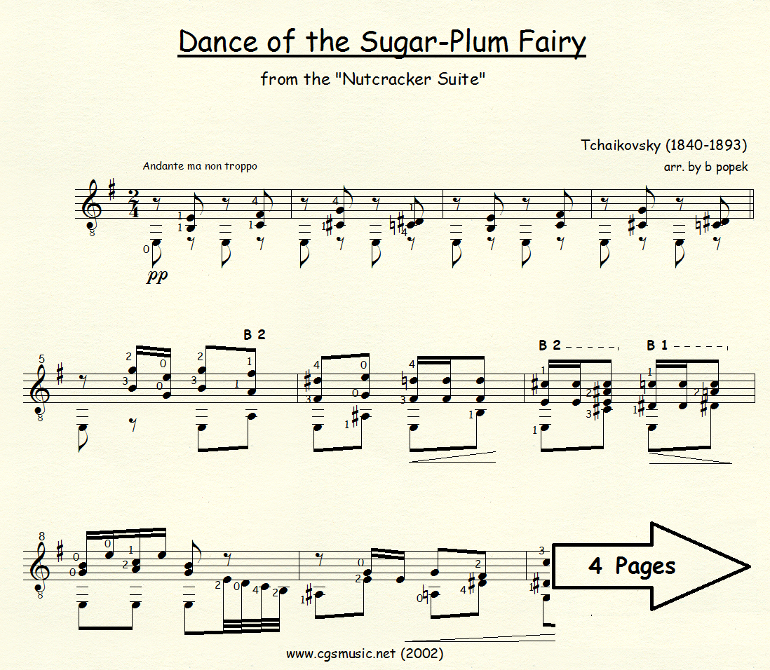 Dance of the Sugar-Plum Fairy (Tchaikovsky) for Classical Guitar in Standard Notation