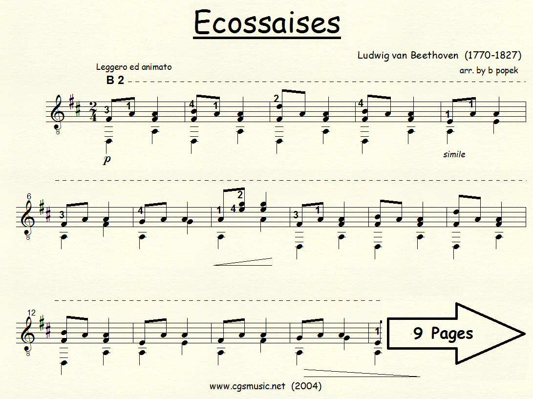 Ecossaises (Beethoven) for Classical Guitar in Standard Notation