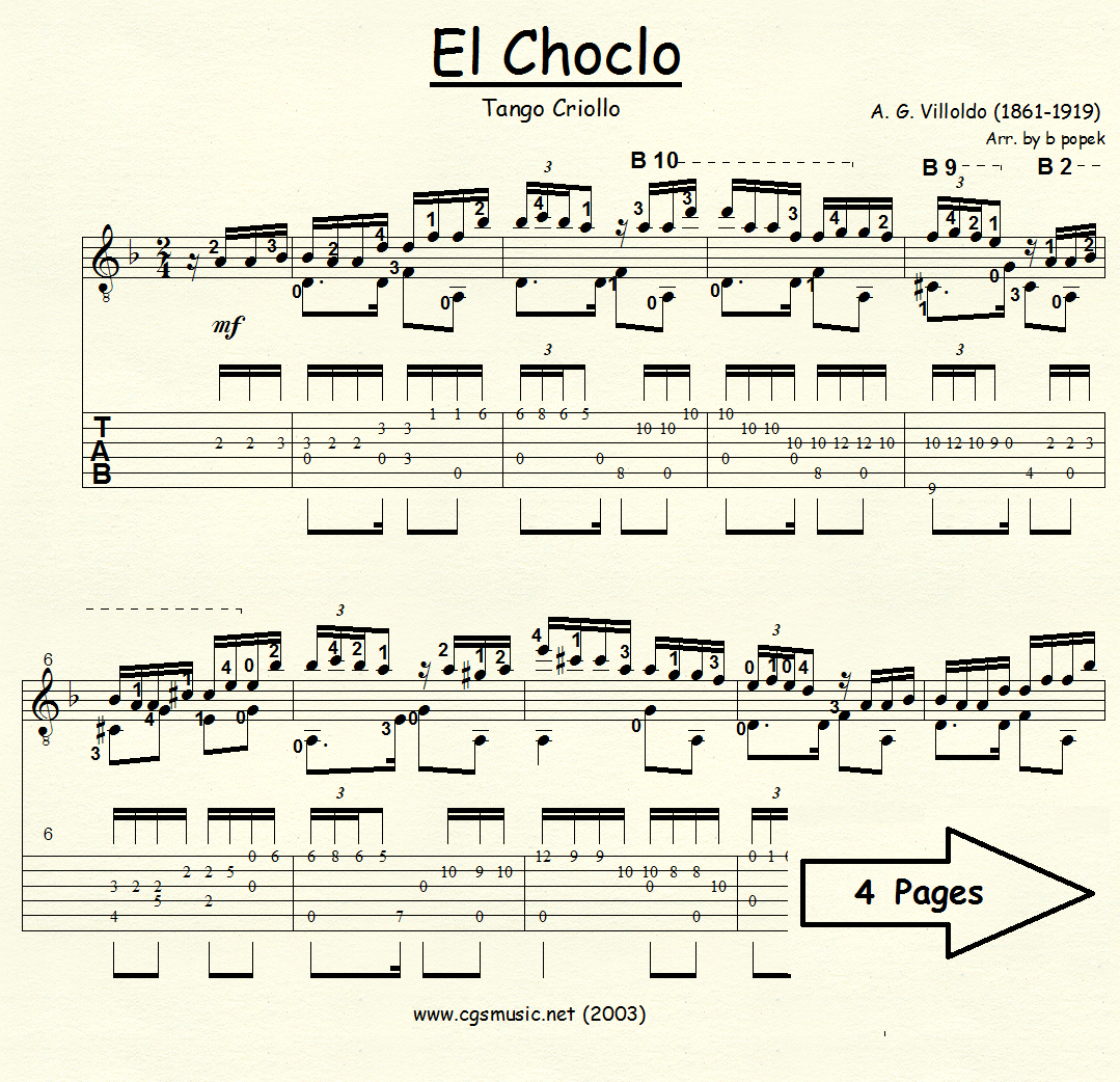 El Choclo (Villoldo) for Classical Guitar in Tablature