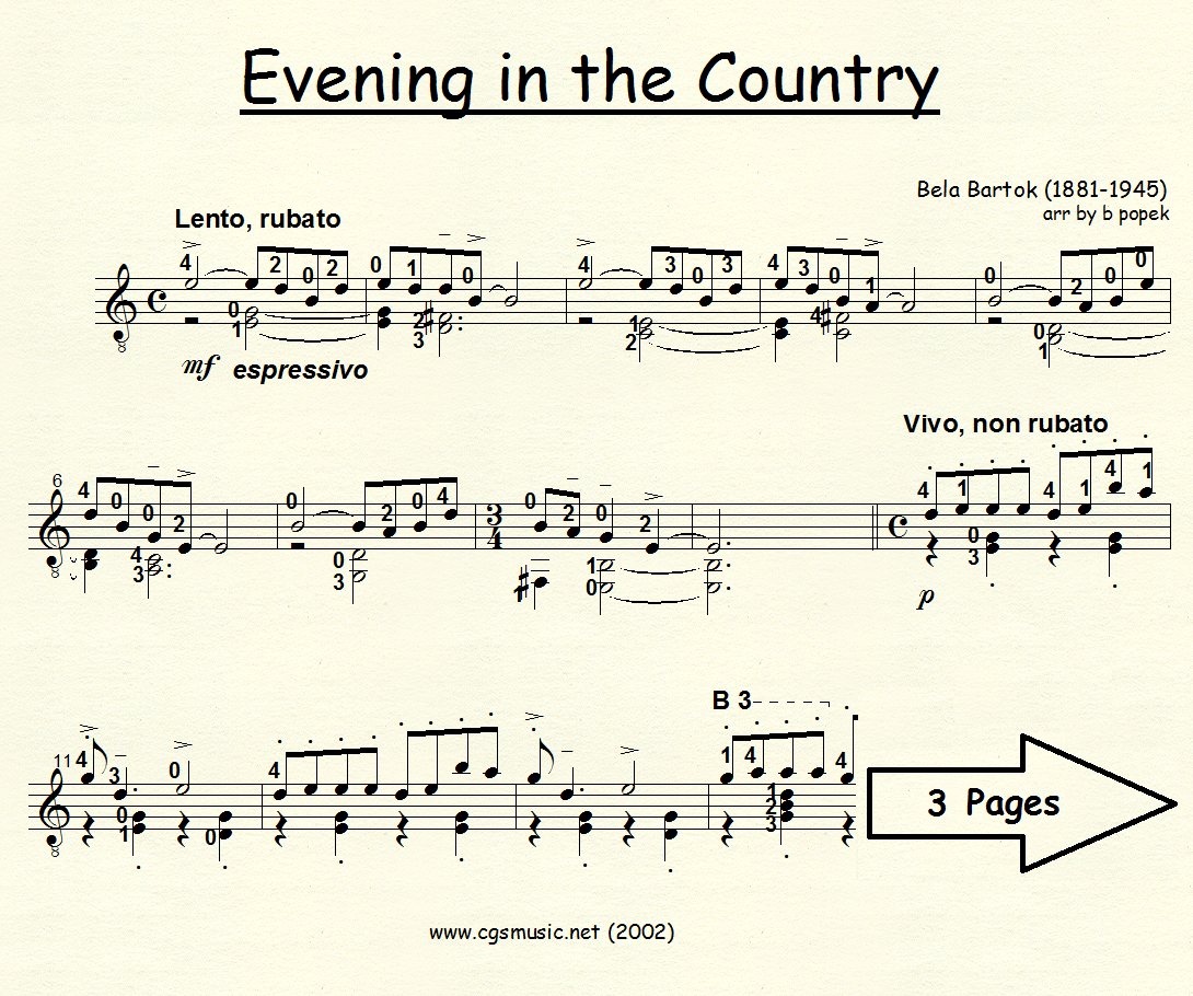 Evening in the Country (Bartok) for Classical Guitar in Standard Notation